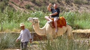 Enjoying a camel ride