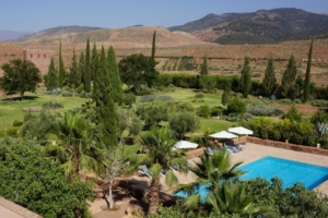 Southern garden & pool at Kasbah Angour Atlas Mountains Hotel